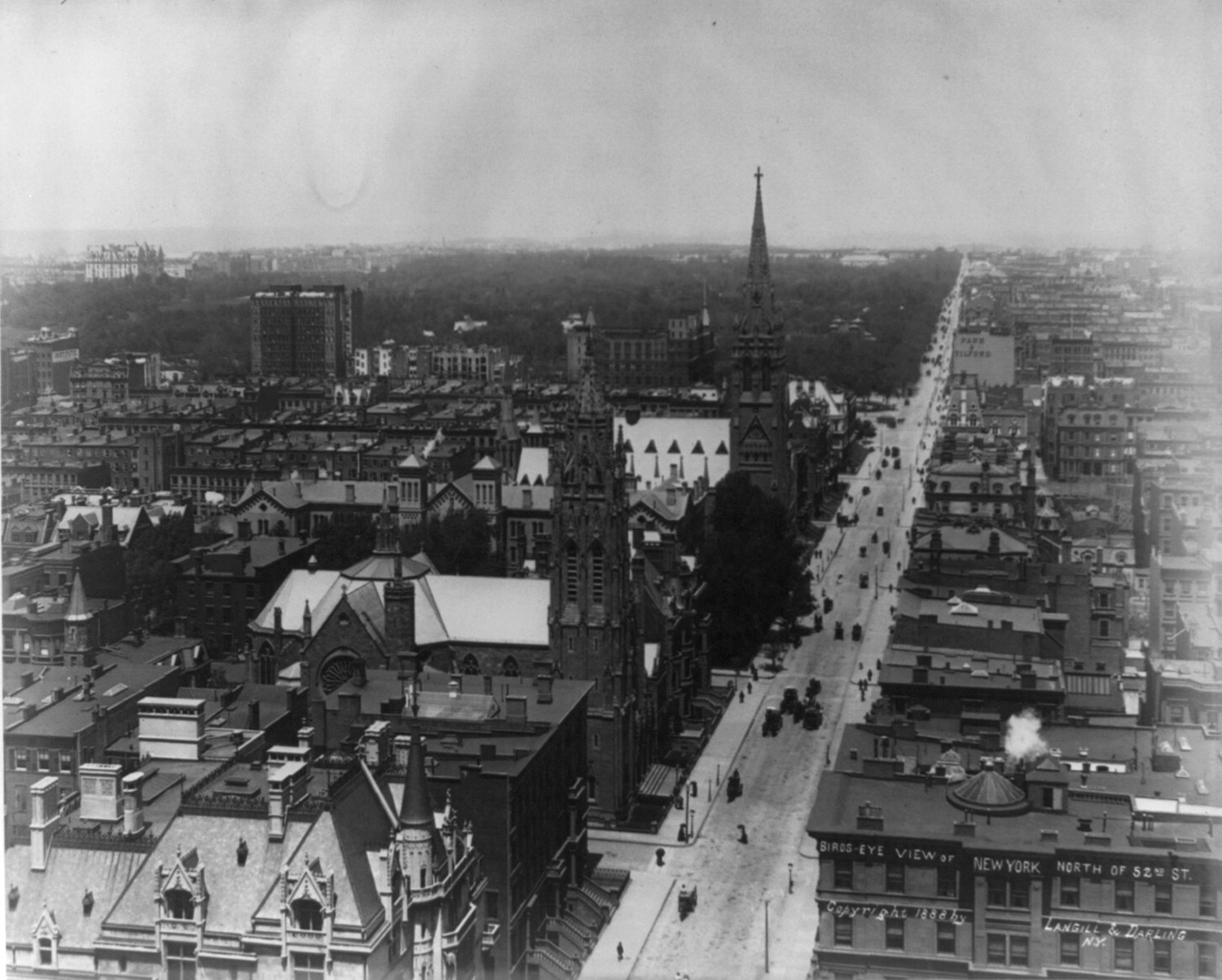 Old New York in Photos #6 - Birdseye View of Fifth Avenue and Central Park 1888