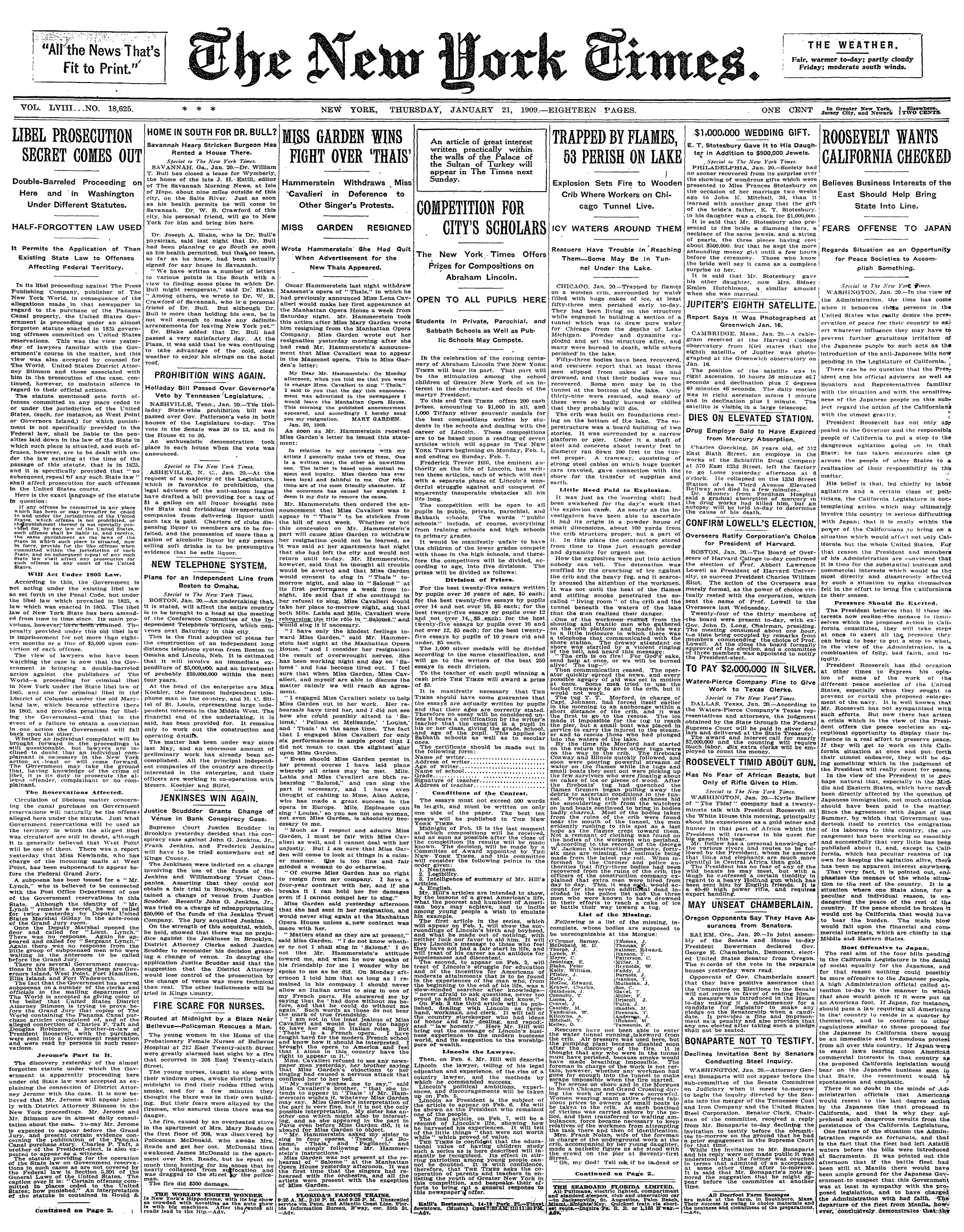 Life In 1909 – Random News And Advertising