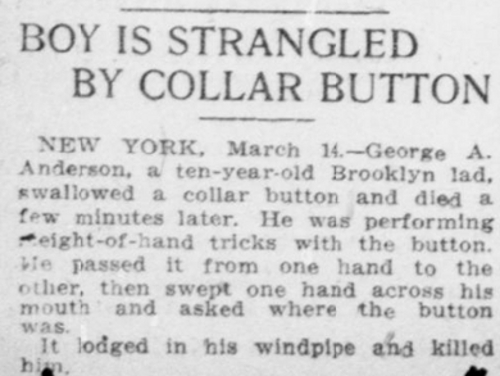 Boy Killed By Collar Button March 14 1909 Washington Times