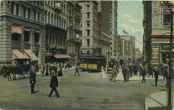 pc Broadway and Chambers Street Street Cars