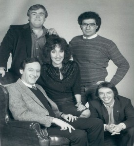SCTV cast 1982 clockwise from top left; John Candy, Eugene Levy, Martin Short, Andrea Martin and Dave Thomas