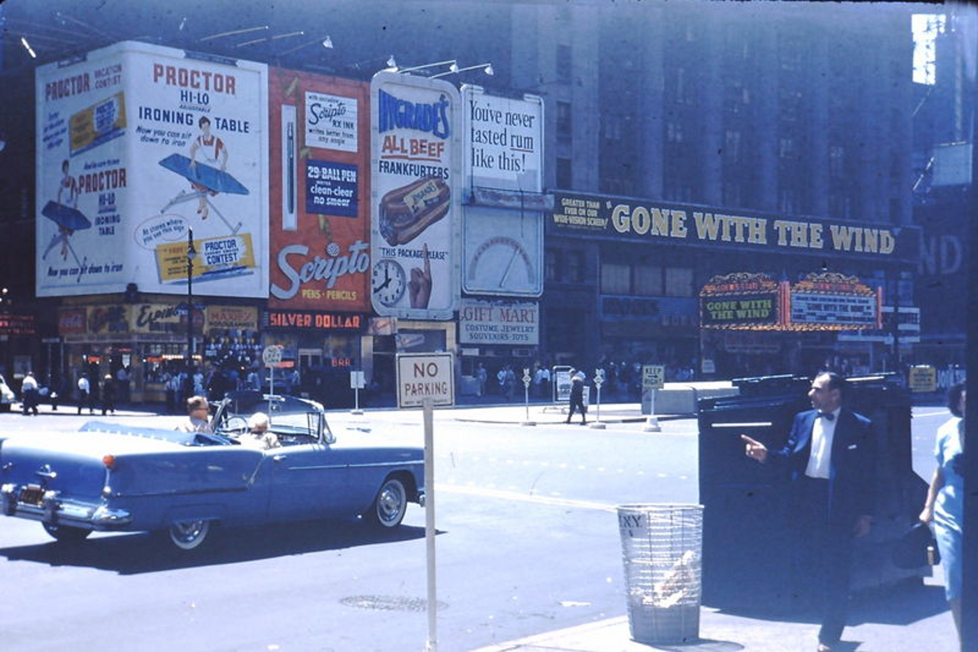 Vintage Color Photographs Of Times Square With Advertisements 1954