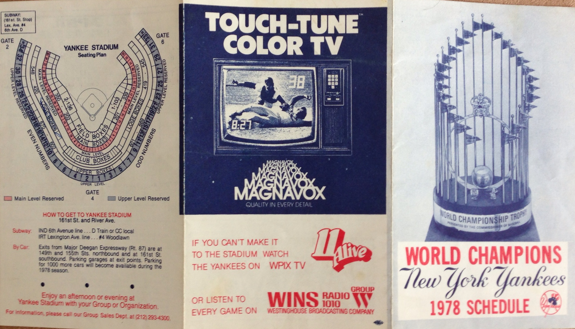 Vintage 1978 Yankees Schedule Including Ticket Prices And Other Surprises
