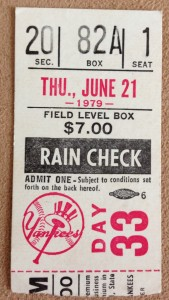 Yankee Ticket Front Row Field Box 1979