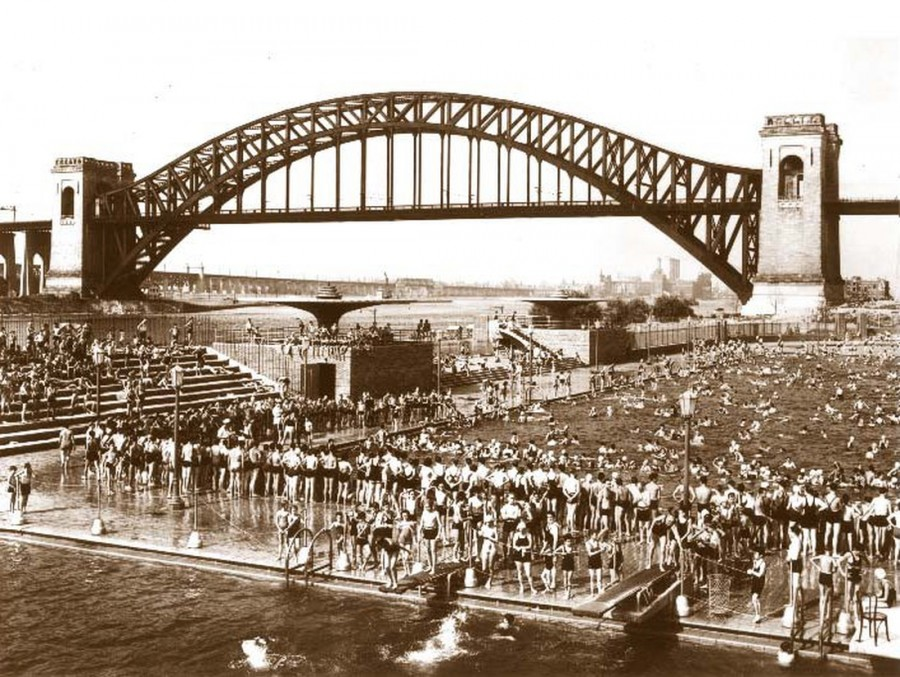 Hell Gate Bridge bathers Astoria Pool 1937
