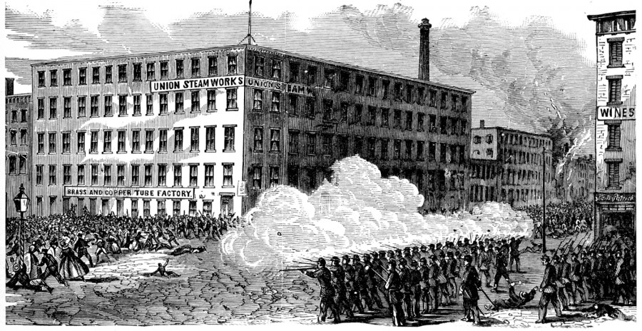 """The Battle in Second Avenue"" from John Shea's 1886 book, The Story of a Great Nation"