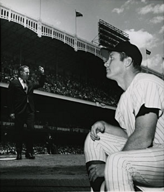 June 8, 1969 - Mickey Mantle Day- Mantle gazes, as former Yankees announcer Mel Allen in the background