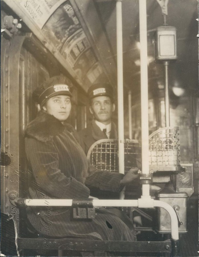 Marie Bocinec First Woman Street Car Conductor New York City Dec 11 1917