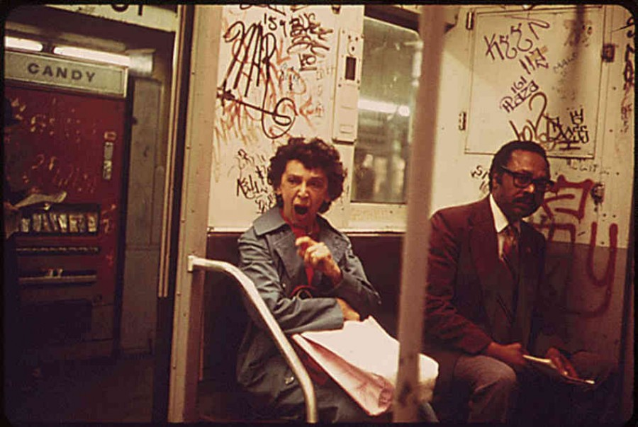Inside the subway cars: lots of graffiti too. photo via NPR