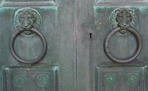 Henry B. Miner mausoleum door handles - knockers detail Green-Wood Cemetery, Brooklyn