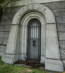 Jerome mausoleum door Green-Wood Cemetery, Brooklyn