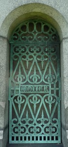 Peter Moller mausoleum door Green-Wood Cemetery, Brooklyn