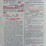 1973 Yankees program schedule with ticket prices