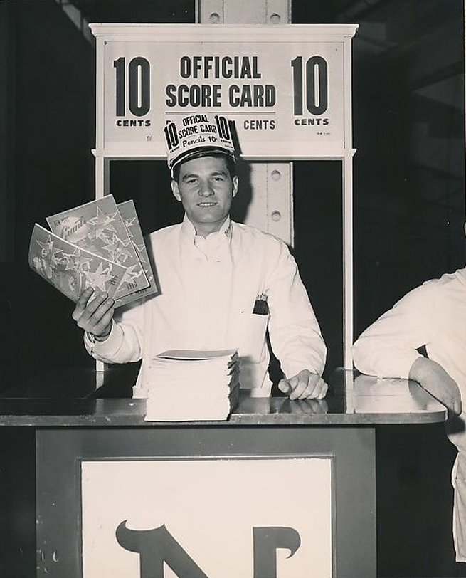 Scorecard vendor at the Polo Grounds 1949 - photo William C. Greene