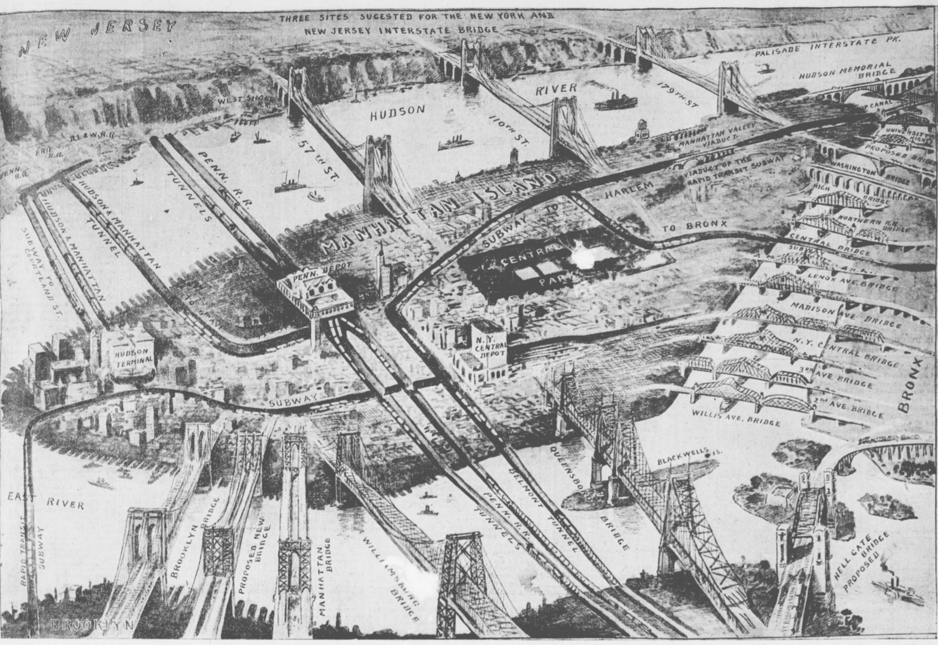 Proposed Bridges Of New York City In 1911