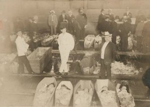 General Slocum victims in temporary morgue 26th Street photo: NYPL