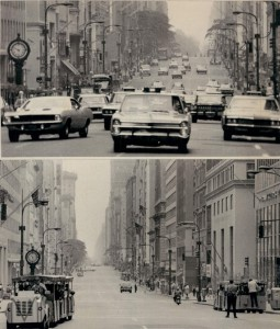 Top photo shows 5th Ave. on a typical day. Bottom photo shows 5th Ave. on July 11, 1970