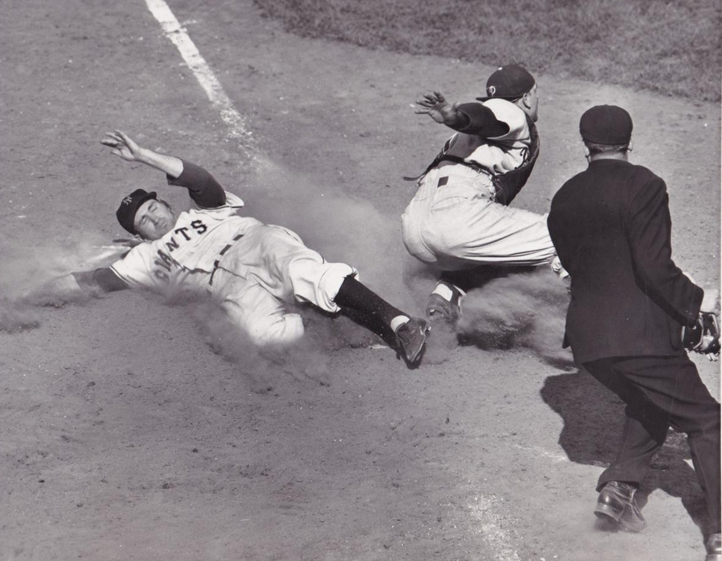 Alvin Dark Slides Home Safely At The Polo Grounds - 1950