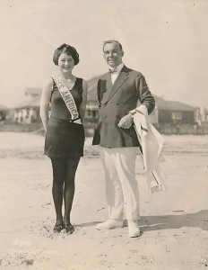 Miss America 1922 winner Mary Campbell on beach