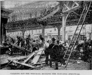9th Avenue Elevated cleaning up wreckage photo New York Tribune