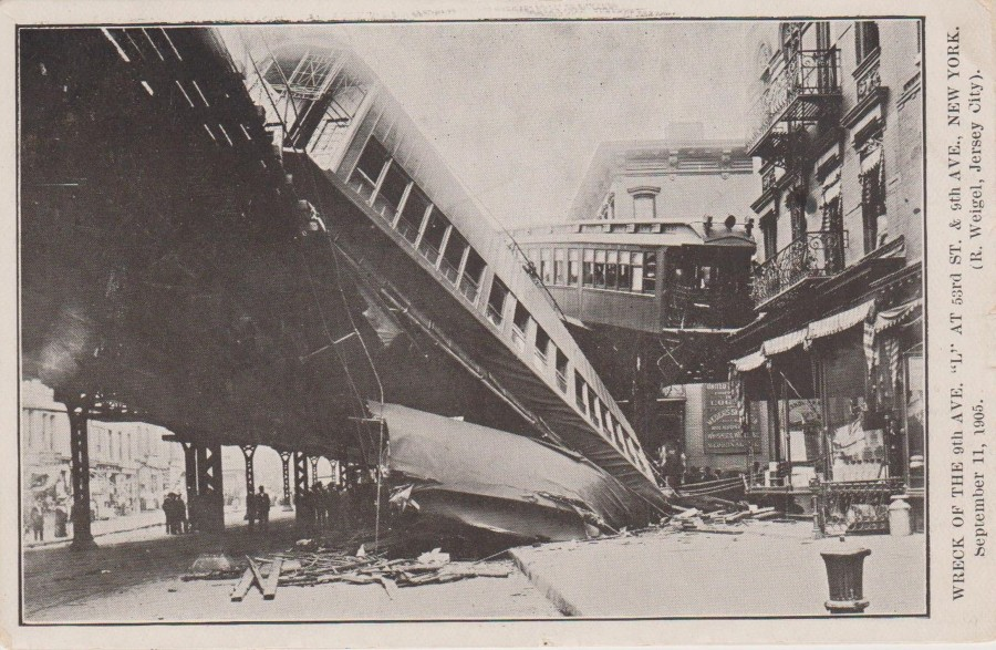 9th ave elevated railway accident 9 11 1905 postcard photo R Weigel