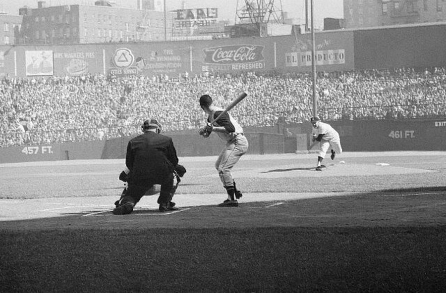 World Series baseball the way it used to be played - during the daytime. Pirates center fielder Bill Virdon awaits the first pitch from Yankees ace Whitey Ford to begin game 3 of the 1960 World Series at Yankee Stadium, October 8, 1960.