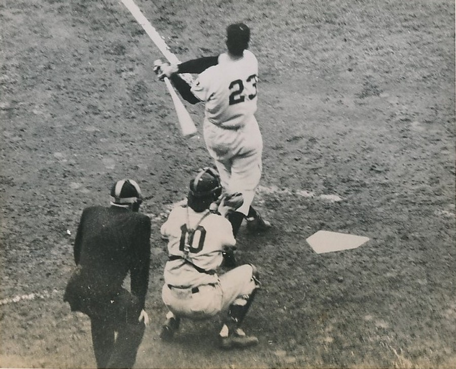 Bobby Thomson connects, Oct. 3, 1951, catcher is Rube Walker, umpire is Lou Jorda photo: Wide World