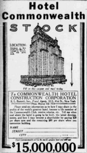 Hotel Commonwealth ad NY World 1918 12 5