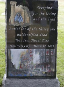 Windsor Hotel Fire Memorial  by artist Al Lonrenz photo: Ricky Flores for The Journal News