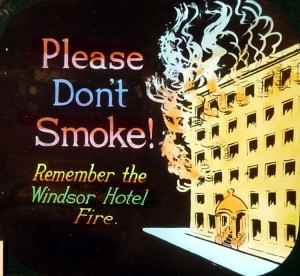 Windsor Hotel Fire intermission warning magic lantern slide