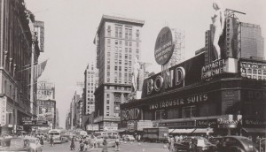 Bond Clothiers sign, 1948, Times Square looking north