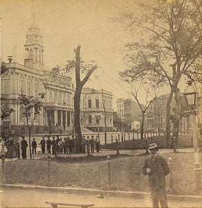 Standing on Broadway by New York City Hall circa 1870
