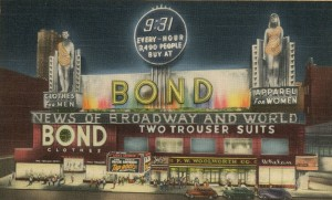 Times Square 1948 Bond Clothiers at night billboard