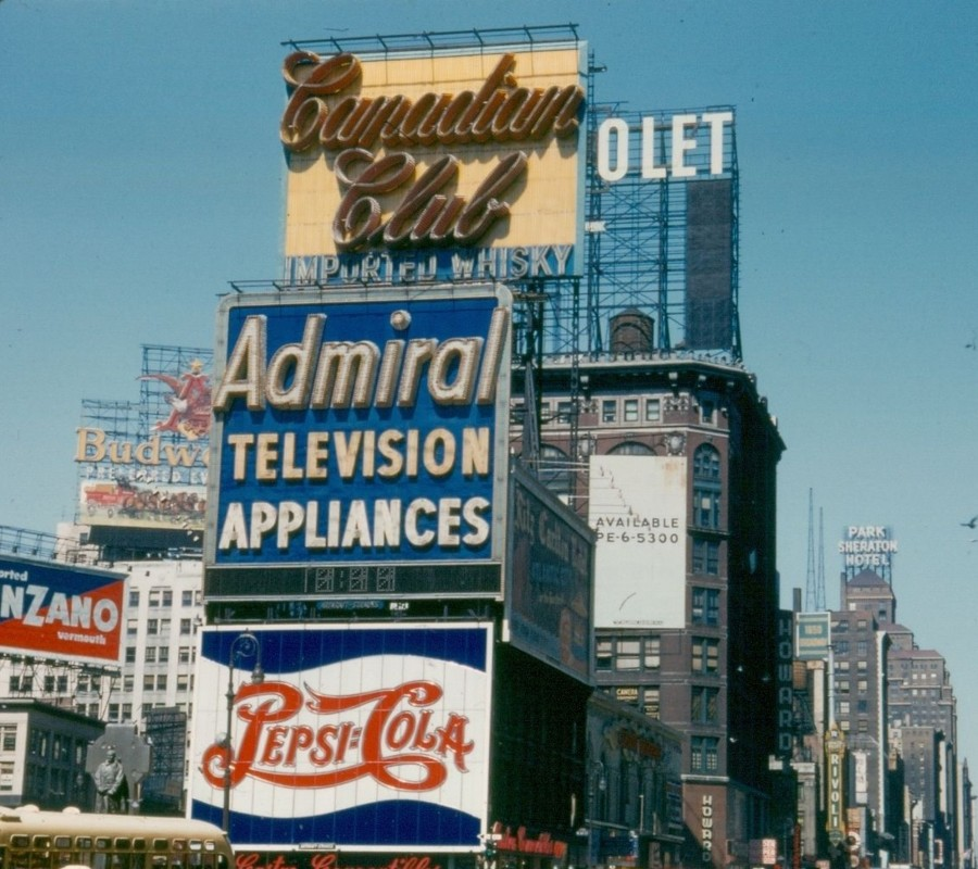Times Square Pepsi Admiral and Canadian Club advertising billboard signs in color 1954