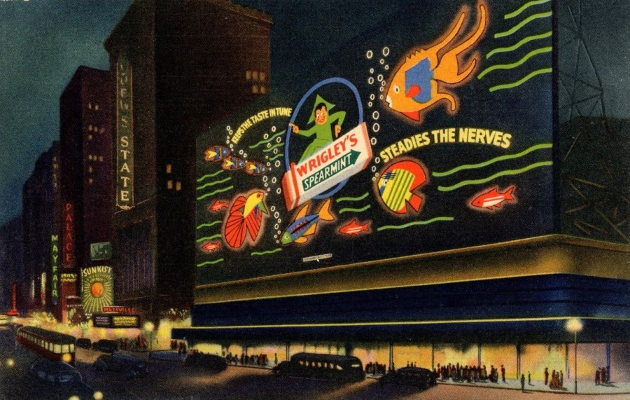 Times Square Wrigleys Billboard sign Ad postcard