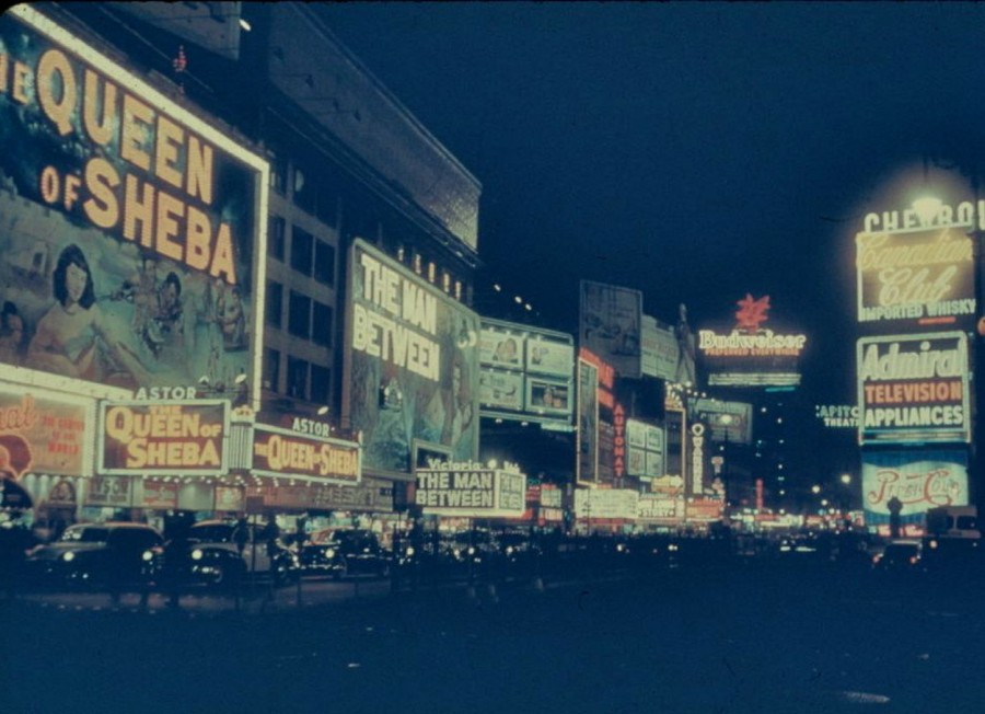 New York's Times Square at night 60 Years ago, 1954 photo: Charles Shaw