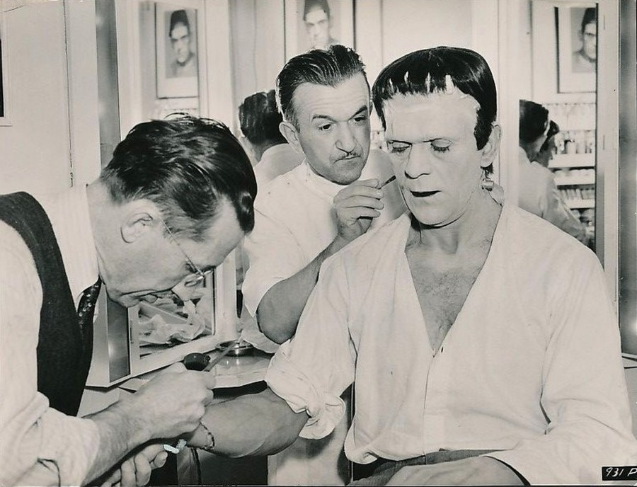 Boris Karloff makeup session Son of Frankenstein
