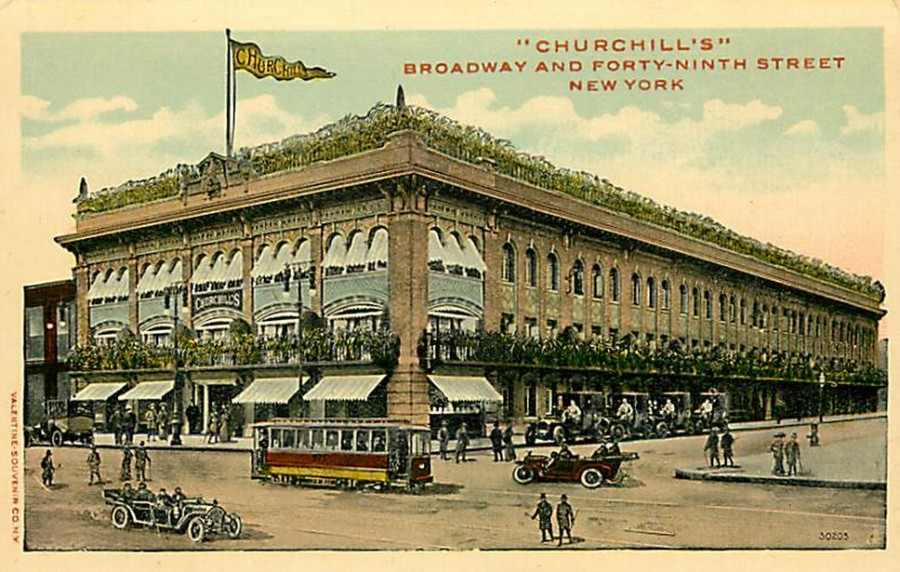 Exterior Churchills Restaurant Broadway 49th St c 1915