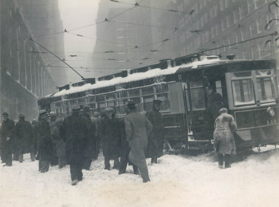 Trolley stuck in snow during storm