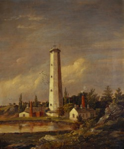 Youle's shot tower East River 53rd Street painting by Jasper Cropsey