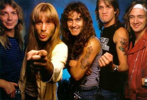 Iron Maiden 1986 - (from l-r) Dave Murray, Bruce Dickinson, Steve Harris, Nicko McBrain, Adrian Smith