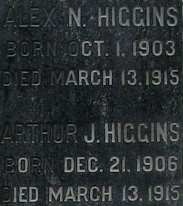 Higgins inscription monument