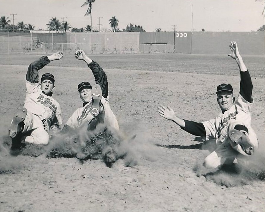 Orioles in spring training March 1960 (l-r) Ron Hansen, Jerry Adair, Marv Breeding