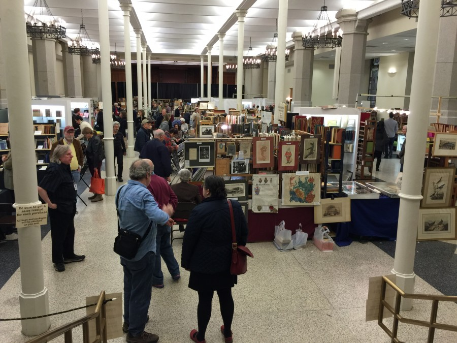 A view of the floor of the New York City Book and Ephemera Fair  - Wallace Hall St. Ignatius Loyola Church April 11, 2015