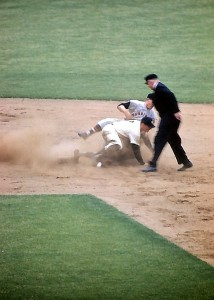 Mickey Mantle stealing 2nd base and slides hard 1950s photo Marvin Newman