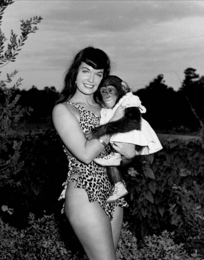 Bettie Page with chimp. photo Bunny Yeager