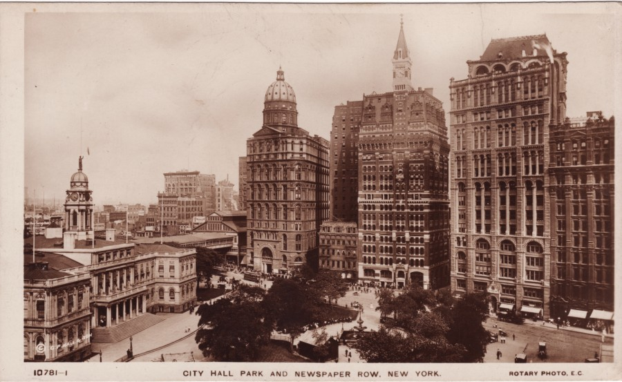 City Hall Newspaper Row Buildings (l-r) World Building (aka Pulitzer Building), Sun Building, Tribune Building - all demolished. New York Times and Potter Buildings are still extant