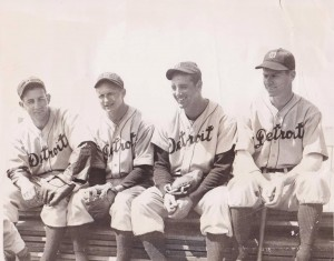 The 1935 starting infield of the Detroit Tigers from left to right Charlie Gehringer, Billy Rogell, Hank Greenberg and Marv Owen. They combined for 173 strikeouts.