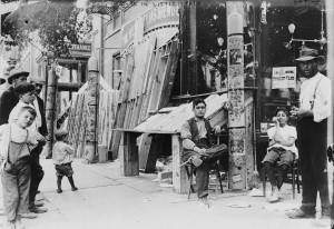 Outside a Brewing Company in Little Italy During Festa 1908
