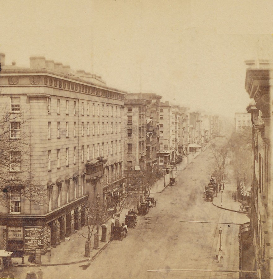 Broadway with the Astor House Hotel on the left circa 1868